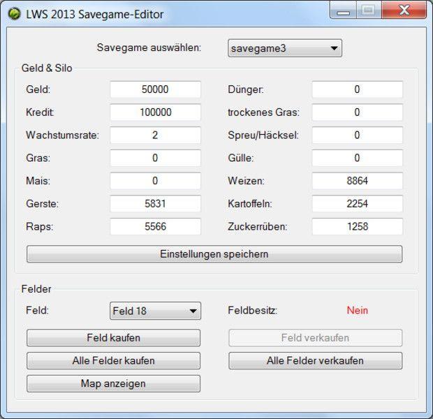 Savegame Editor Mod for Landwirtschafts Simulator 2013