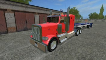 Peterbilt 388 and Manic flatbed trailer
