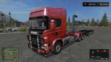 Scania V8 Hook Lift With Rail Trailer FS17