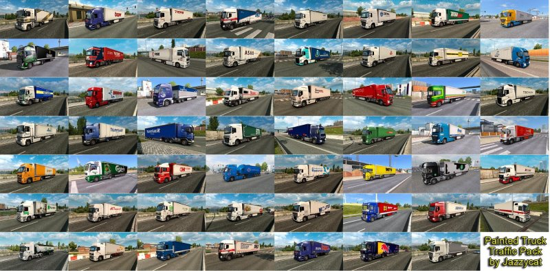 Painted Truck Traffic Pack by Jazzycat v5 4 - ETS2 Mod | Mod