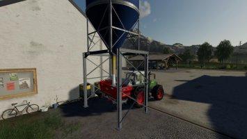 Placable fertilizer silo