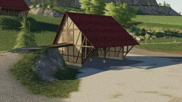 Placeable half-timbered barn